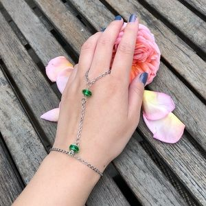 Silver Hand Chain With Green Glass Bead Jewelry